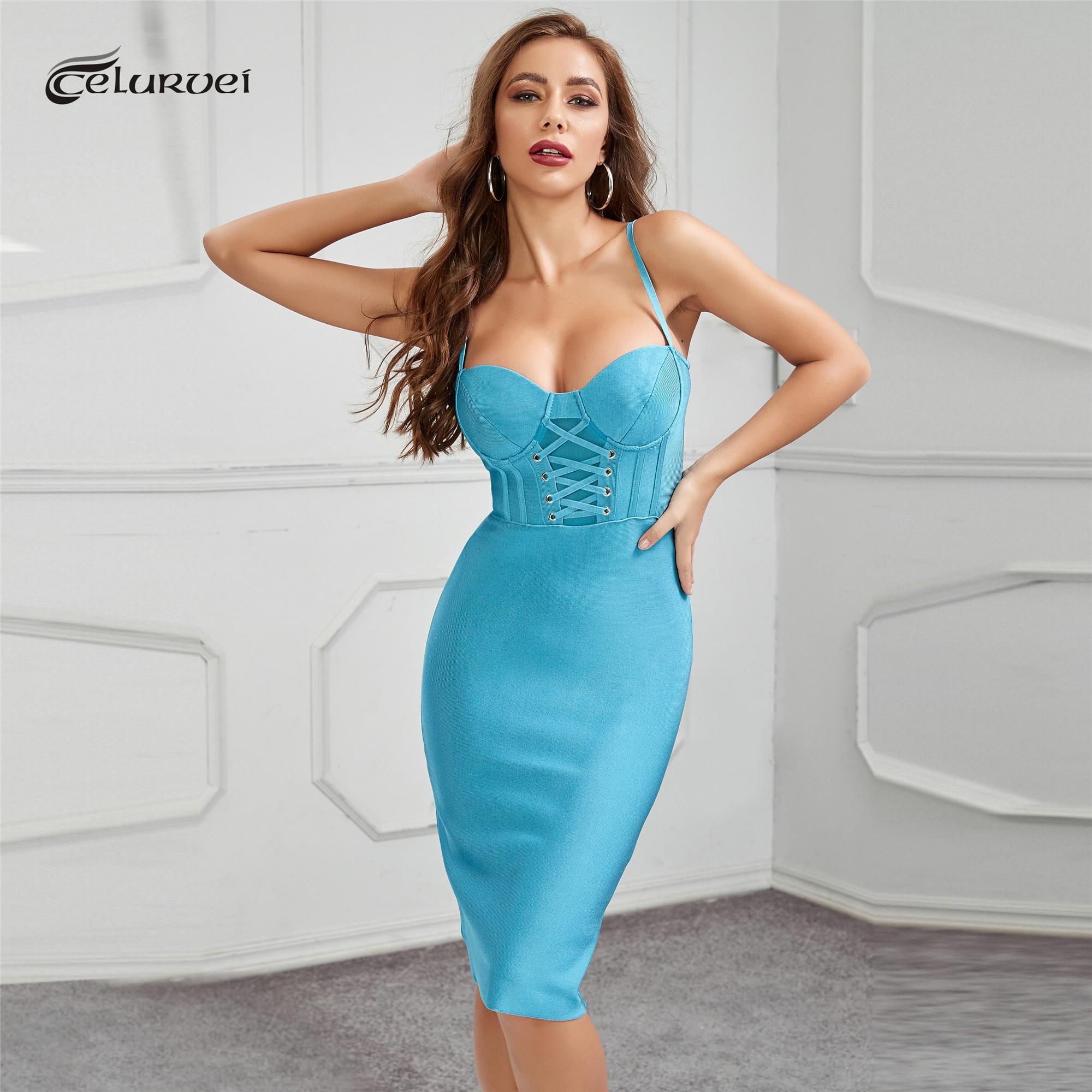 Высококачественное синее облегающее Бандажное платье из вискозы, элегантное платье для клувечерние