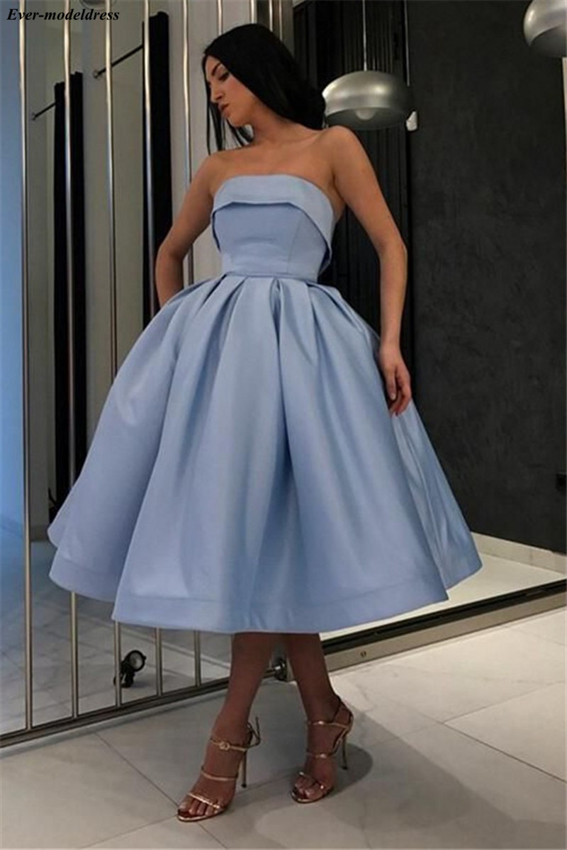 Simple Satin Prom Dresses Short Tea-Length Strapless Lace Up Back A-Line Elegant Evening Party Gowns Vestidos De Festa