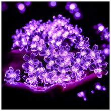 Cherry Blossom LED String Garland Battery Powered LED String Fairy Lights For Indoor Wedding Christmas Bedroom Decoration Purple