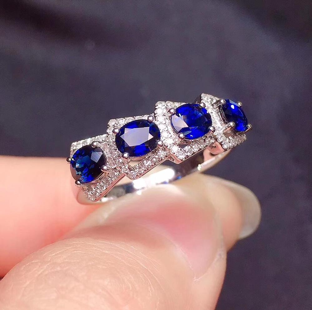 Y416 Blue Sapphire Ring 1 35ct Real Pure 18 K Natural Blue Sapphire Gemstone Diamonds Stone Female Ring Rings Aliexpress