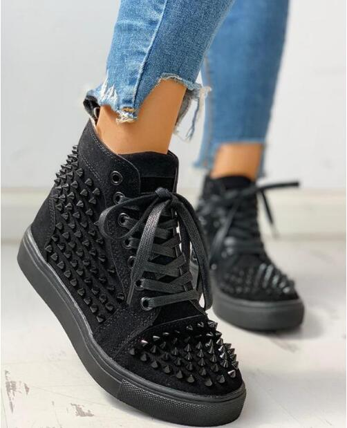 2020 Spring Fashion Women Rivet Punk Sneakers Women Thick Bottom Casual Platform Shoes Women Vulcanized Shoes Basket Femme