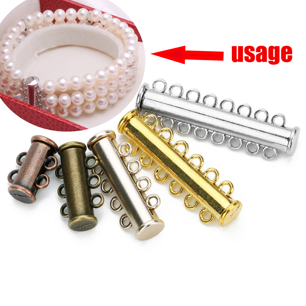 LOULEUR 5pcs/lot 2/3/4/5/6/8 Rows Silver Strong Magnetic Clasps For Necklace Bracelet Chain Rhodium Plated Buckle Hook