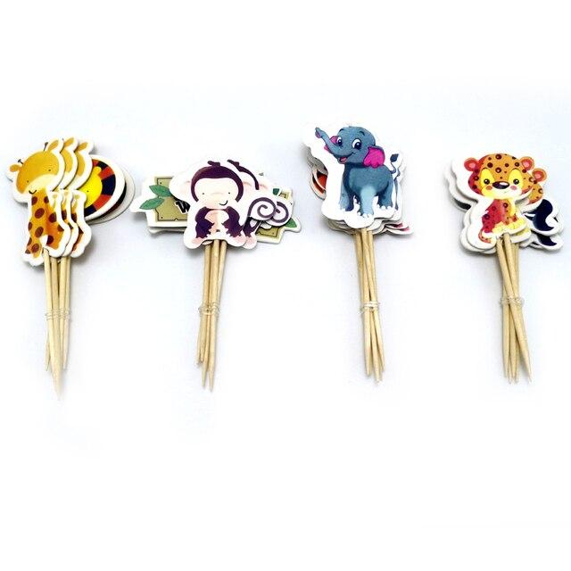 Baby Shower Partito Elefante/Leone/Tigre Toppers Cupcake Con Spiedi Decorazioni Giungla Degli Animali Per Bambini A Tema Favori Cake Toppers 24PCS
