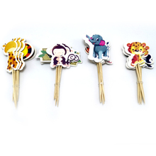 Baby Shower Party Elephant/Lion/Tiger Cupcake Toppers With Sticks Decorations Jungle Animal Theme Kids Favors Cake Toppers 24PCS