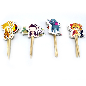 Image 1 - Baby Shower Party Elephant/Lion/Tiger Cupcake Toppers With Sticks Decorations Jungle Animal Theme Kids Favors Cake Toppers 24PCS