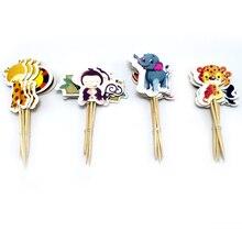 תינוק מקלחת מסיבת פיל/אריה/נמר Cupcake Toppers עם מקלות קישוטי ג ונגל בעלי החיים נושא ילדים טובות עוגת Toppers 24PCS