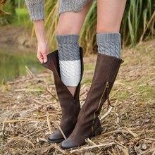 Гетры женские Лоскутные теплые акриловые вязаные сапоги манжеты носки покрытие обуви аксессуары
