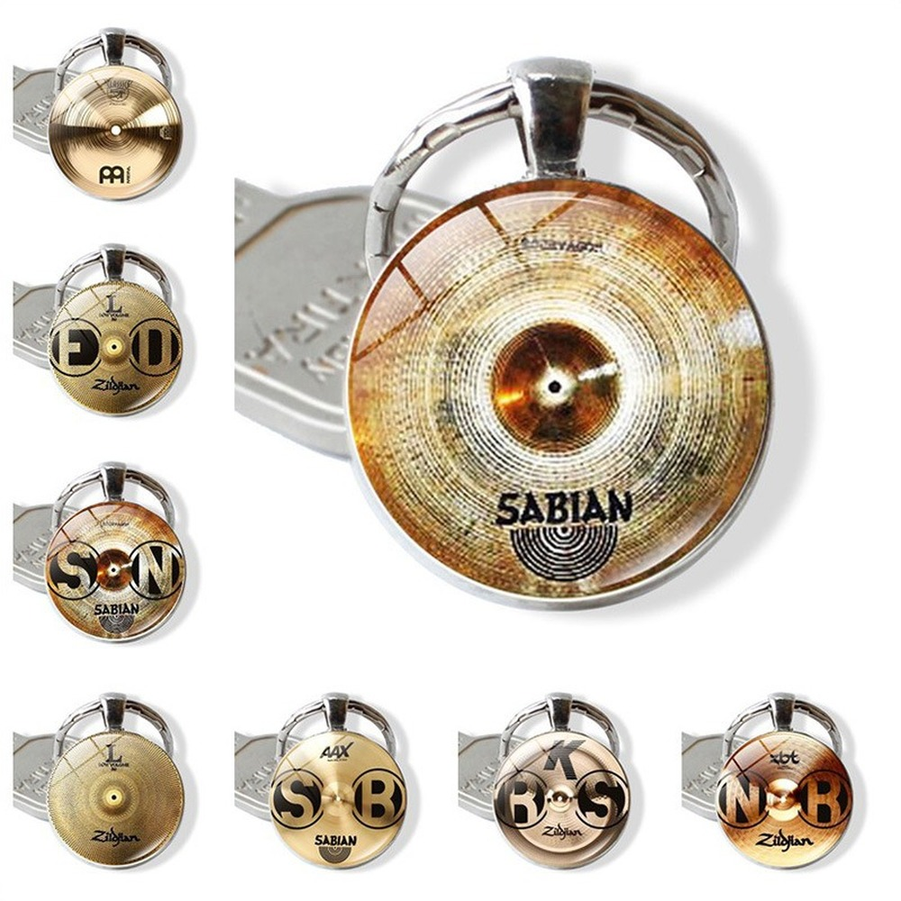 Keychain Hot Accessories DJ Drummer Time Gem European and American High-end Creative Glass Keychain Keyring Pendant image