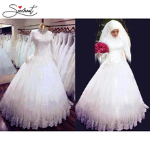 SERMENT Muslim Long Sleeve Wedding Dress Cathedral Beading Appliques High Collar Chiffon Fabrics In White Ivory for Free Custom