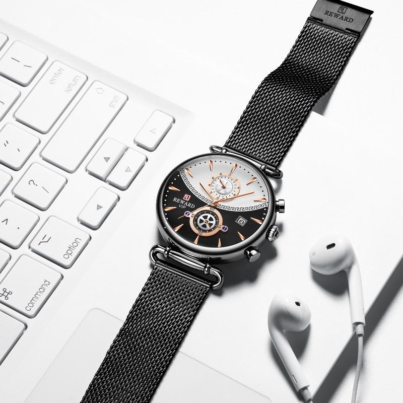 Image 3 - REWARD Chronograph Mens Watch Top Brand Luxury Military Sport Watches Fashion Stainless Steel Watch Men Clock Relogio MasculinoQuartz Watches   -