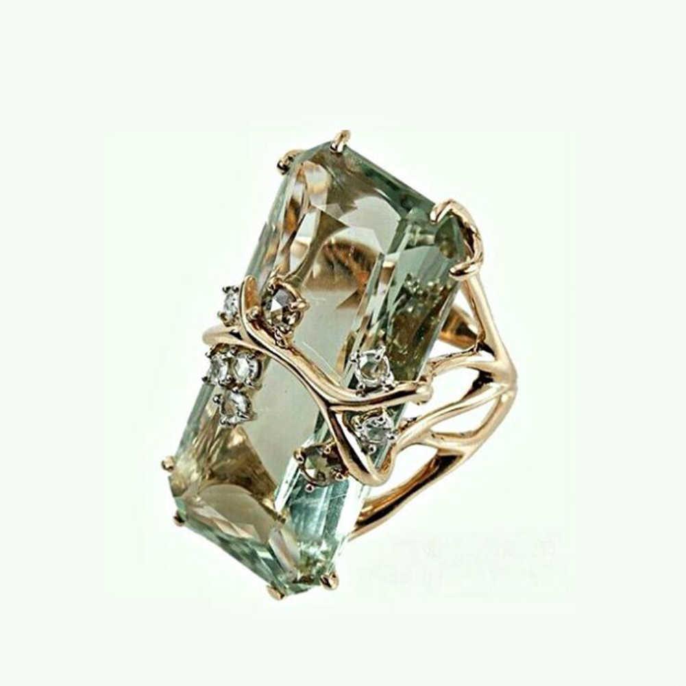 Anéis das Mulheres da forma Do Vintage Esmeralda Peridoto Jóia Banhado A Ouro de Noivado Anel de Casamento Dos Homens Das Mulheres Da Moda Jóias