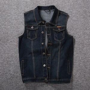 Image 4 - Plus ขนาด 8XL 7XL 6XL 5XLCotton กางเกงยีนส์เสื้อกั๊กเสื้อแขนกุดผู้ชาย Denim กางเกงยีนส์เสื้อกั๊กคาวบอยชายกลางแจ้ง Waistcoat บุรุษแจ็คเก็ต