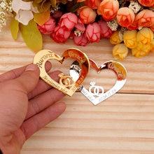 Anillo de boda personalizado con espejo y corazón de 6cm, tarjetas, tarjetas, regalos de invitados, acrílico, 30 unidades