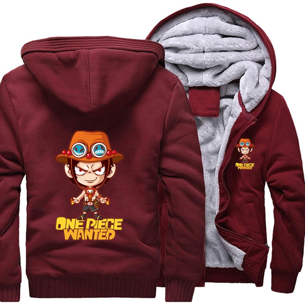 One Piece Wanted animé japonés Portgas D Ace sudaderas holgadas con capucha Invierno Caliente chaquetas de calle abrigo hombres gruesa Sudadera con capucha estampada