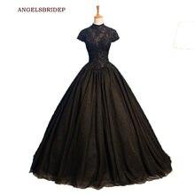 Vestido de quinceañera De lujo, negro, cuello alto, 15 Anos, apliques con cuentas, largo hasta el suelo, Vestidos formales de celebridades