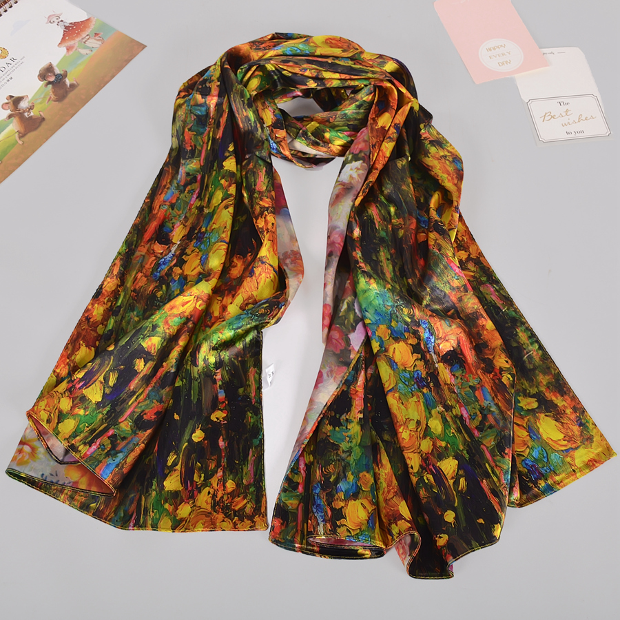 BYSIFA Coffee Gold Satin Silk Scarf New Women 100 Silk Feeling Long Scarves Shawls Double