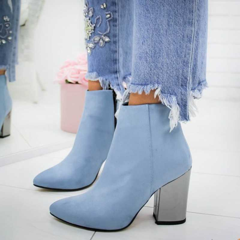 CYSINCOS düz renk çizmeler fermuar moda ayakkabılar kadın rahat sonbahar ayakkabı kadın moda yarım çizmeler rahat botlar