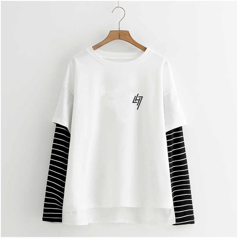 Ulzzang camisa Harajuku manga larga rayas tops de verano para mujeres 2019 EXO Kpop camiseta femenina falsa de dos piezas Streetwear camisas