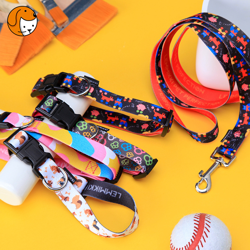 Dongguan 2019 New Style Thermal Transfer Flower Cat Dog Traction Belt Cat Collar Hand Holding Rope