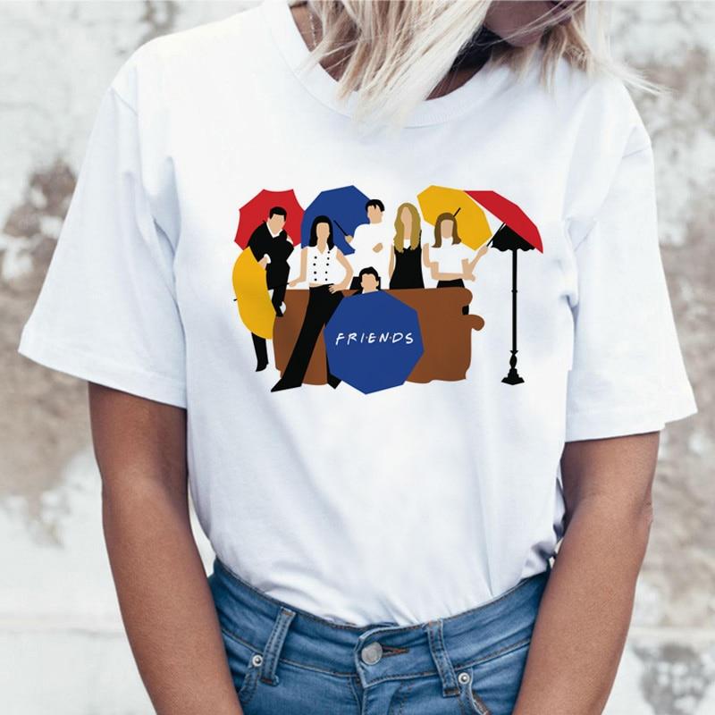 LUSLOS Friends T Shirt Women Short Sleeve Tshirt F·R·I·E·N·D·S Printed Graphic Tees Female Classic Six Of One TV Series T-shirts
