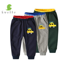 SVELTE 2-7Y Kids Boys Solid Casual Baggy Pant for Children Cotton Sport Trousers with Cute Ladder Truck Pattern with 2 Pockets