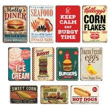 Hamburger Hot Dogs Tin Sign Vintage Fast Food Shop Decor Metal Plate Chili Eggs Metal Wall Painting Restaurant Kitchen Decor