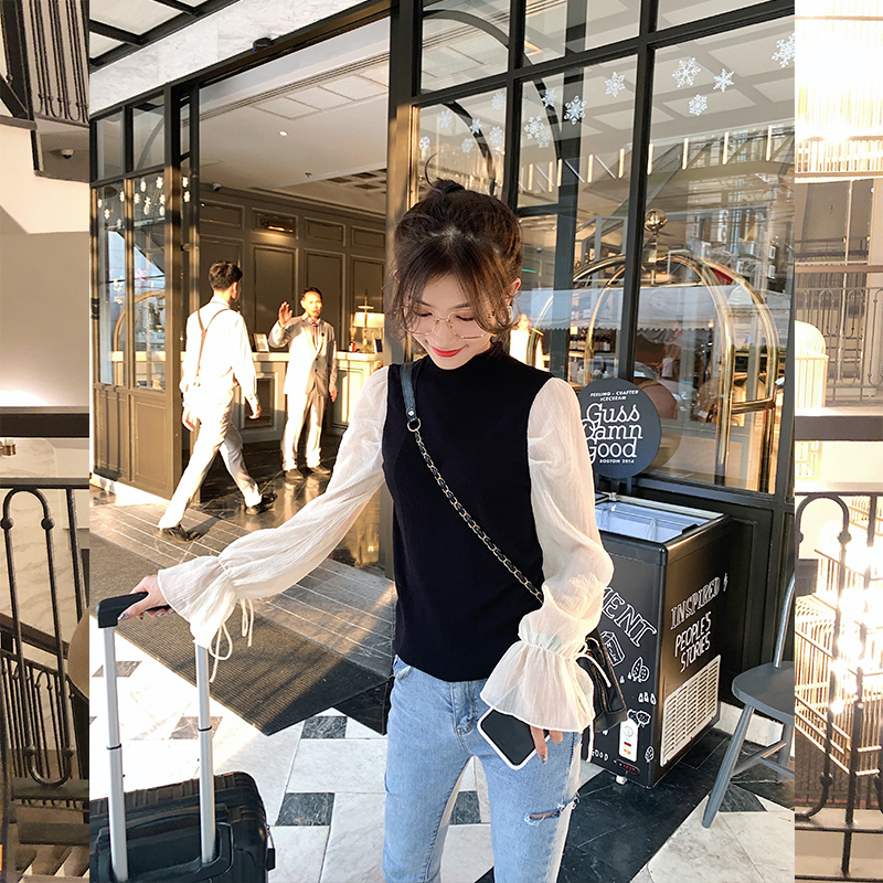 MISHOW 2020 Spring New Women Sweater Stitch Chiffon Flare Sleeve O-Neck Casual Female Pullover Tops Clothing MX20A5568