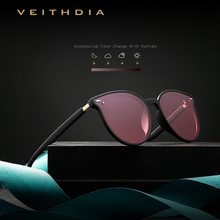 VEITHDIA 브랜드 Photochromic Womens 선글라스 Polarized Mirror Lens 빈티지 데이 나이트 듀얼 썬 안경 여성용 여성용 V8520