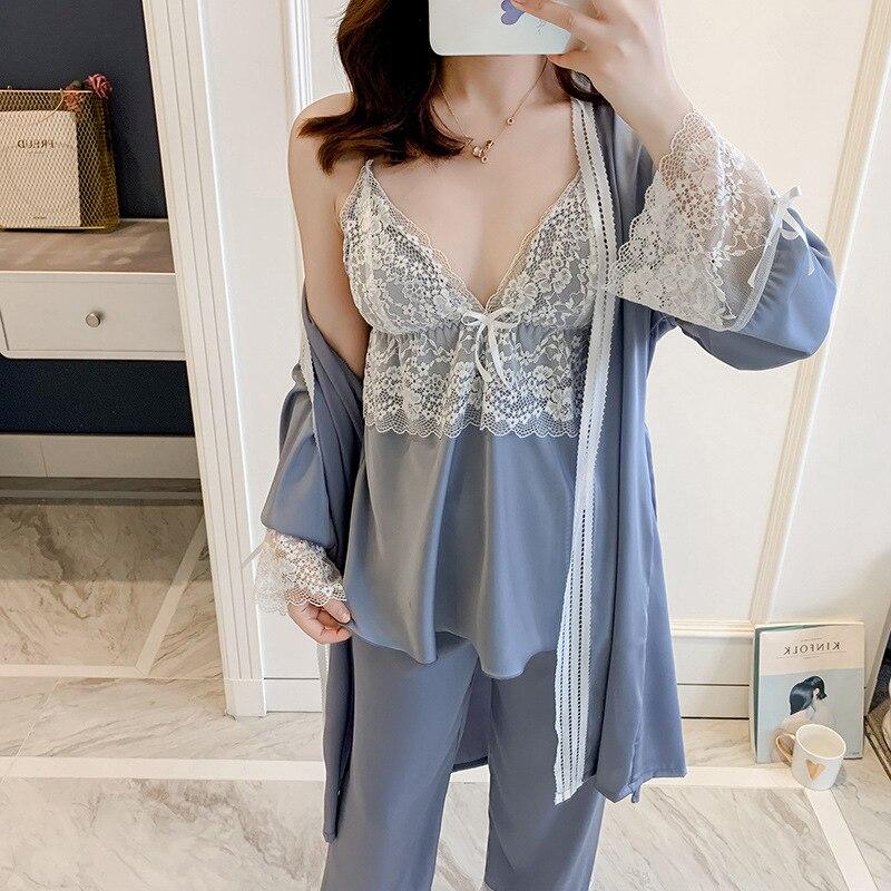 QWEEK Silk Pijamas Mujer Sleepwear Pyjamas Sexy Lace Nightwear Sleep Lounge Home Clothes Satin Pajamas For Women 2020 Homewear