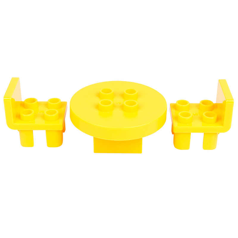 Do blokowania Duplo stół zestaw mebli z krzesłami klocki budowlane miasto zabawki dla dzieci solidny duży rozmiar kompatybilny duży rozmiar Duploed Citys Brick
