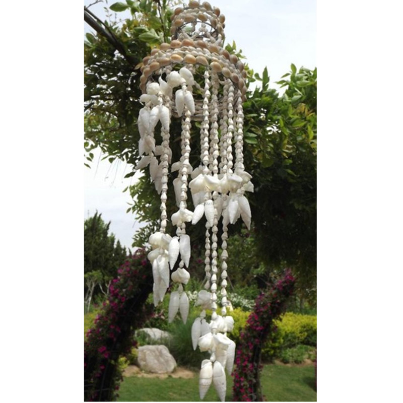 50cm Natural Hanging Wind Chimes Wall Dream Catchers Modern Handmade Coral Shell Home Room Decoration White