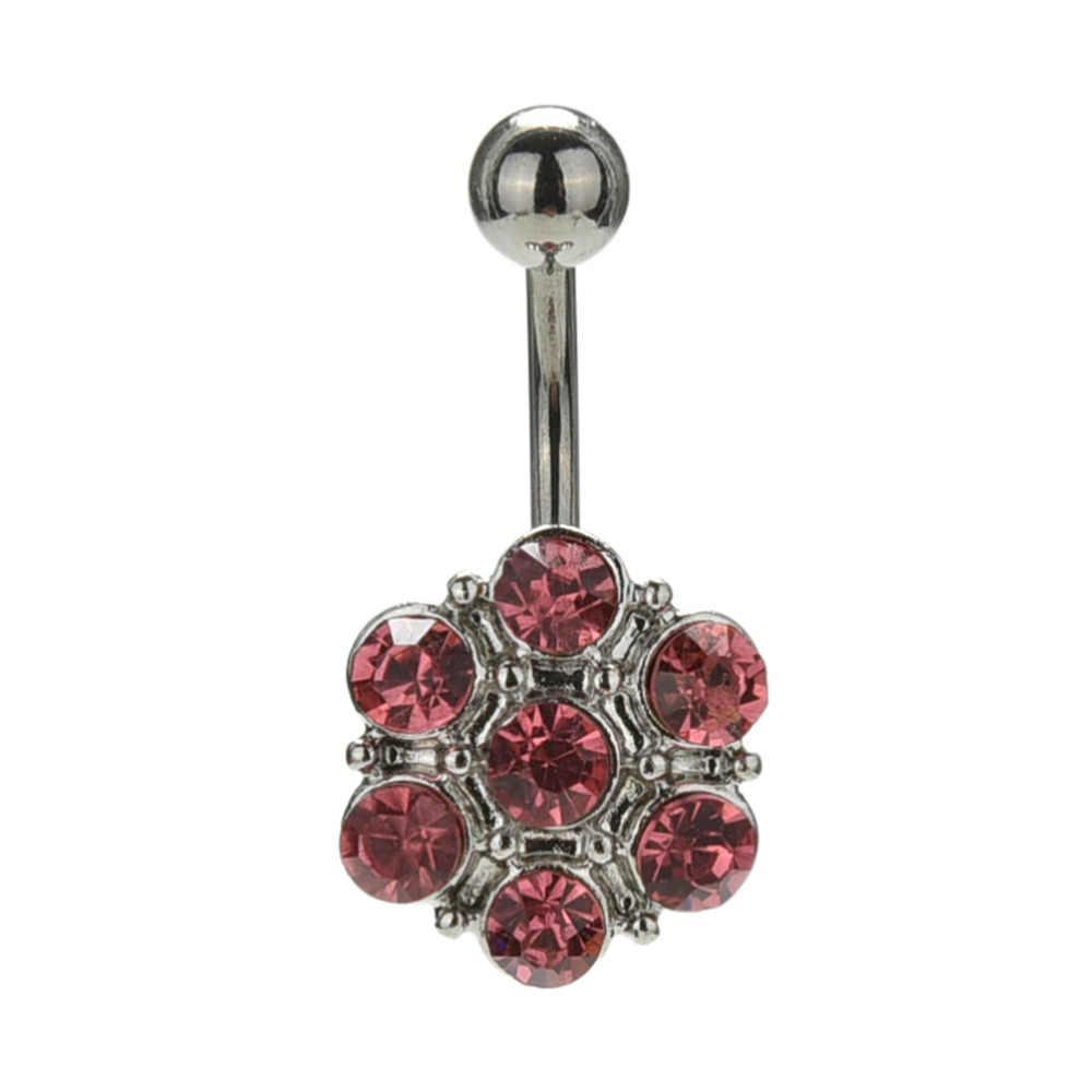 1PC פלדה ברבל פירסינג אופנה סגנון בר פירסינג קריסטל פרח טבור טבור טבעת גוף תכשיטי כירורגי