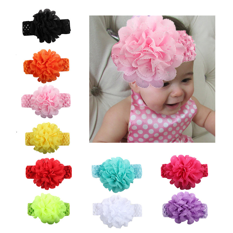 Hairbands Floral For Girls Kids Headband Baby Born Girls Flower Headband Lace Bow Flower Headbands Baby Reborn Toys Cartoon Hats