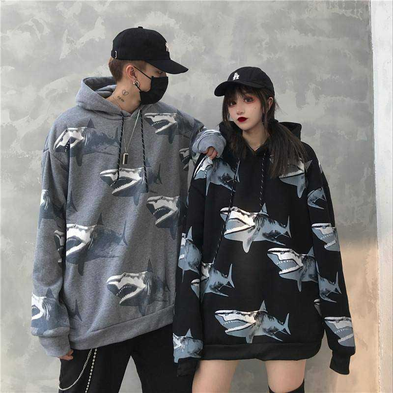 NiceMix Female Winter 2019 New Fashion Ins Shark Print Harajuku Loose Casual Plus Velvet Retro Hip Hop Jacket Jacket Hoodie Swea