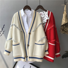 Tassel Patchwork Knitted Sweater For Women Faux Cashmere Cardigan Autumn Winter Letter Pocket Feminino Coat Oversized Sweaters tassel patchwork knitted sweater for women faux cashmere cardigan autumn winter letter pocket feminino coat oversized sweaters