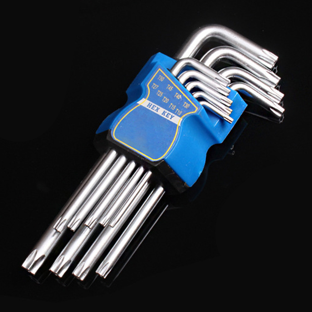 NEW 9pcs Torx Hardware Ball End L Type Repair Tool Long Arm Hex Wrench Set Allen Key Metric Steel Manual Screwdriver Powerful
