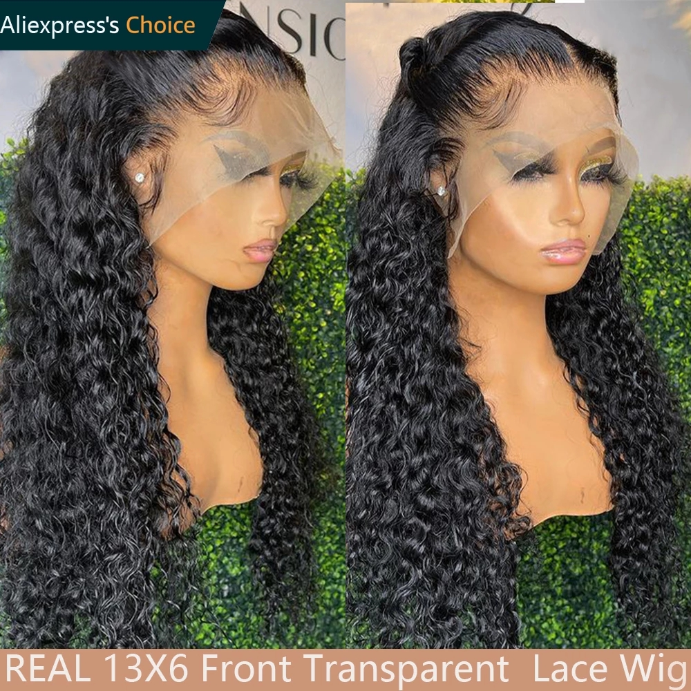 Curly Human Hair Wig Water Wave 13x6 Lace Front Human Hair Wig Pre Plucked With Baby Hair 250 Wet Wavy Wigs For Women Human Hair
