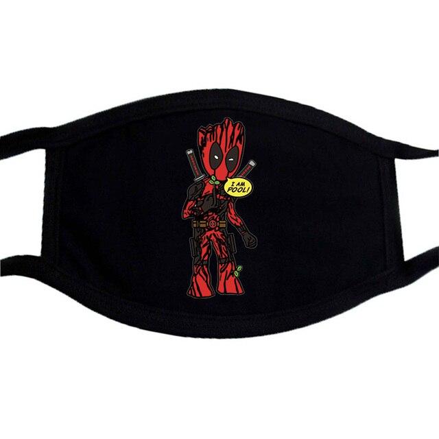 Marvel Cartoon Anime Cute Groot Masks Half Face Mouth Muffle Dustproof Masks Anti-dust Black Casual  Warm Unisex Mask 2