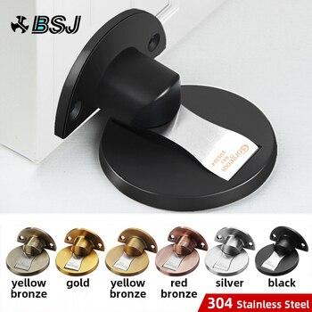 BSJ Magnetic Door Stops 304 Stainless Steel Stopper Hidden Holders Catch Floor Nail-free Doorstop Furniture Hardware