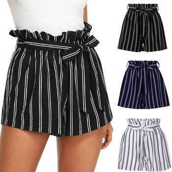 шорты shorts women woman shorts шорты женские летние джинсовые велосипедки женские 2020 Stripe Casual Elastic Waist Pocket Z4