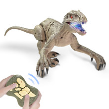 RC Dinosaur 2.4 Ghz Simulation RC Velociraptor Intelligent Remote Control Dinosauria Toy With LED Light Roaring Gift for Kids