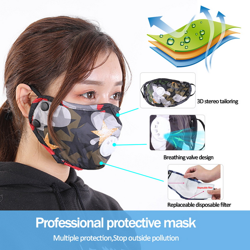 YELITE Face Mask With Valve Respirator Washable Reusable Disposable Filter Pad Mask Mouth Covers Dust Masks Ffp3 Face Shield