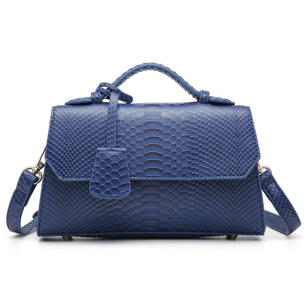 Fashion Blue Ostrich Python Clutch Ladies Bag Snake Pattern Leather Bags Women Hand Bag