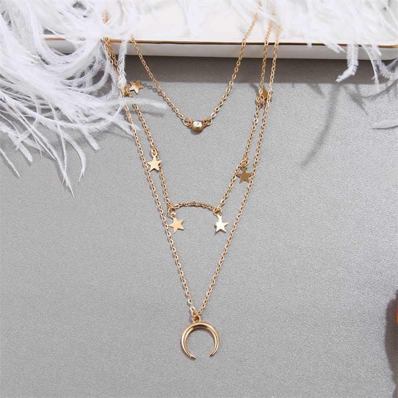 Moda nowe kobiety kryształ gwiazda księżyc srebrny kolorowy wisiorek wielowarstwowy naszyjnik czeski Choker plaża naszyjnik Party biżuteria prezent