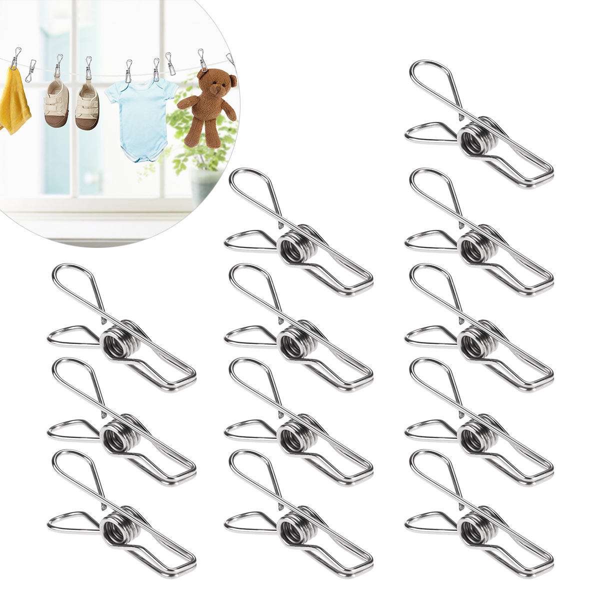 ROSENICE 20pcs Multipurpose Stainless Steel Clips Dry Clothes Pins Craft Decoration Clips Pegs Clothes Hanger Organizer
