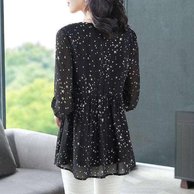 Women's Spring Summer Style Chiffon Blouse Shirt Women's Printed Long Sleeve Loose V-neck Elegant Casual Tops DD8428 3