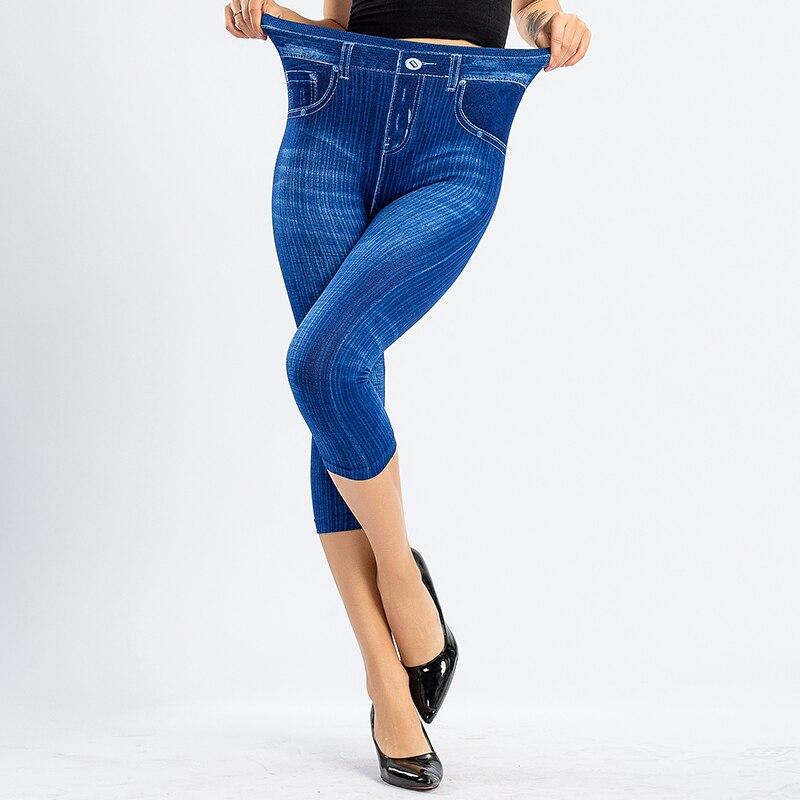 3/4 Leggings Women High Waist Elastic Slim Jeans Leggings Capri Pants Jeggings Female Short Leggings