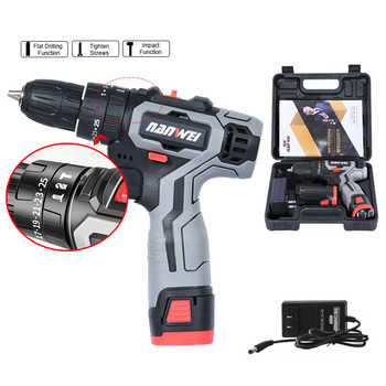 18VF Impact Cordless Drill Electric Screwdriver Mini Wireless Power Driver DC Lithium-Ion Battery with with Power Tool Box - DISCOUNT ITEM  31 OFF Tools