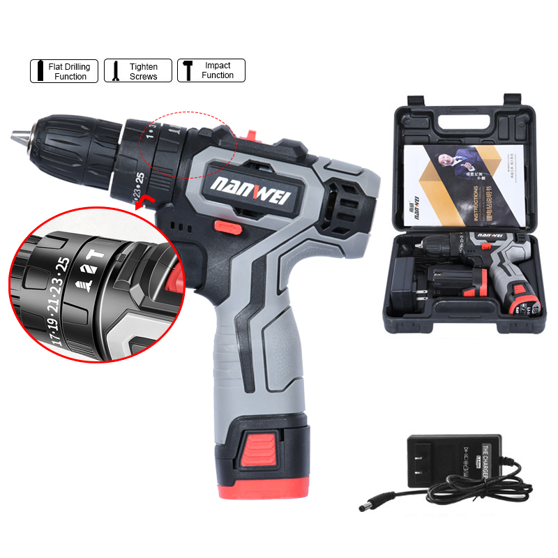 18VF Impact Cordless Drill Electric Screwdriver Mini Wireless Power Driver DC Lithium-Ion Battery with with Power Tool Box
