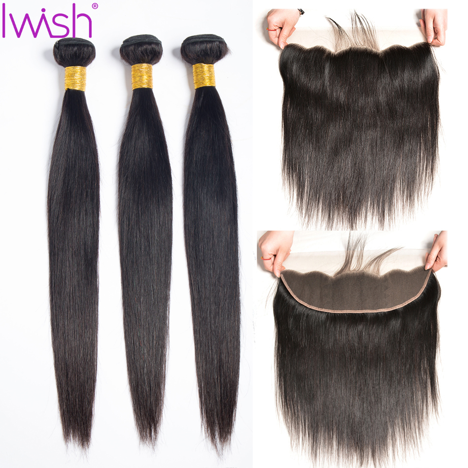 Brazilian Hair Weave Bundles With Frontal Straight Human Hair Bundles With Frontal Ear To Ear Lace Frontal Closure With Bundles